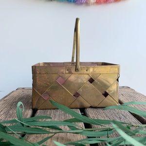 Vintage Brass Basketweave Rectangular Basket